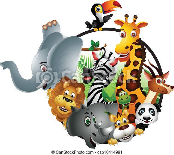 EPS Vectors of animal wildlife cartoon isolated - vector ...