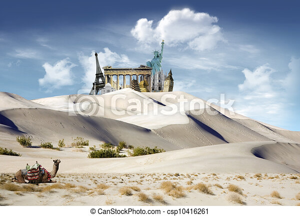 World landmarks in the dunes - csp10416261