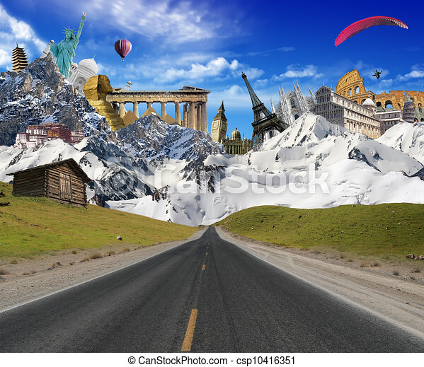 World landmarks with mountain landscape - csp10416351