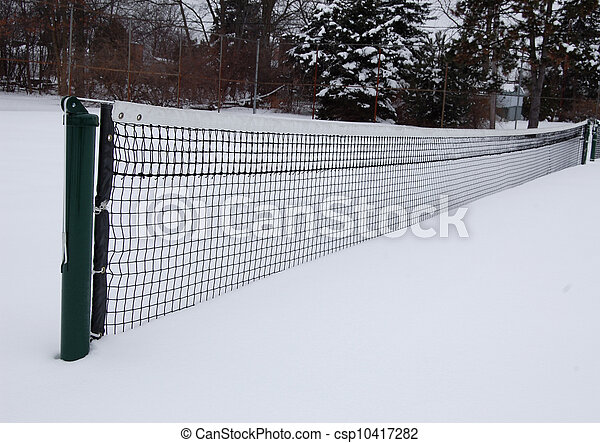 Tennis court in the snow, long view - csp10417282
