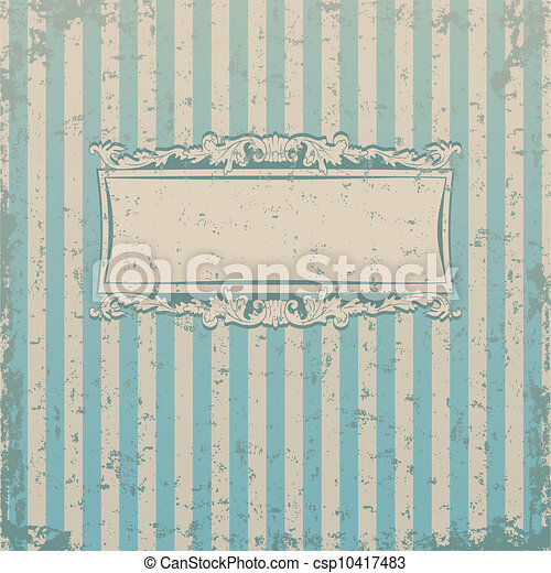 Striped retro background with floral decor and place for you text - csp10417483