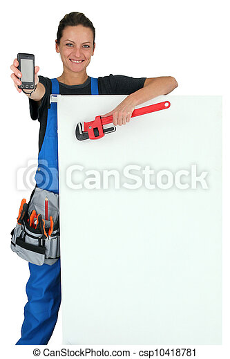 Female plumber with tools - csp10418781