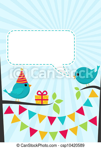 Vector birthday party card with cute birds on trees - csp10420589