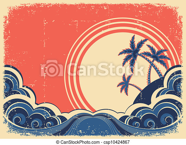 Tropical island with palms.Vector grunge illustration on old paper - csp10424867