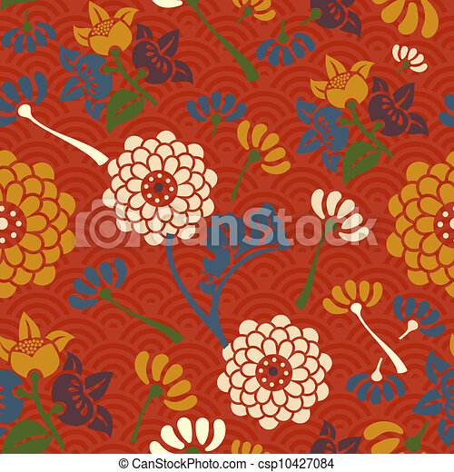 vector of oriental flowers seamless pattern  asian flowers, Beautiful flower