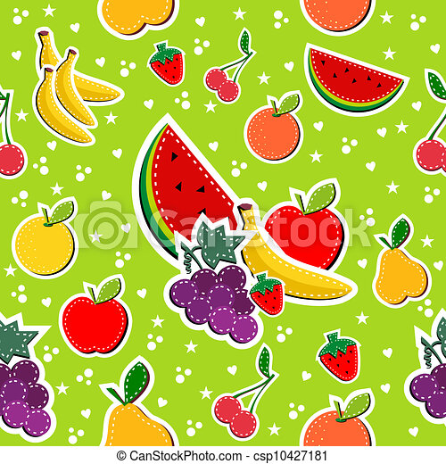 Sewing fruits in block colors seamless pattern - csp10427181