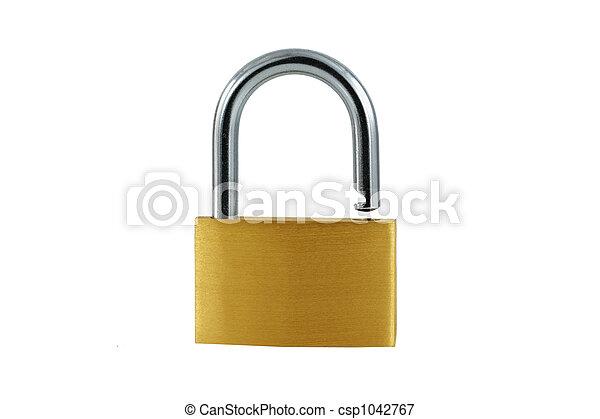 Isolated Brass open lock on white - csp1042767