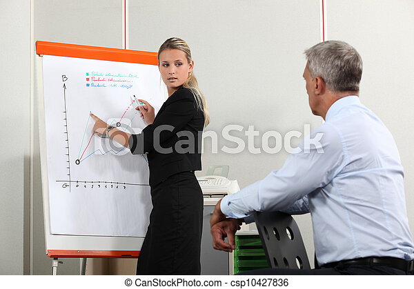 Office workers discussing a  growth chart - csp10427836