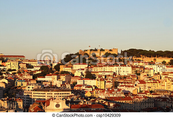 Sunset in Lisbon, Portugal - csp10429309