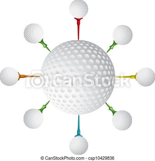 Golf ball,golf tee design,vector - csp10429836