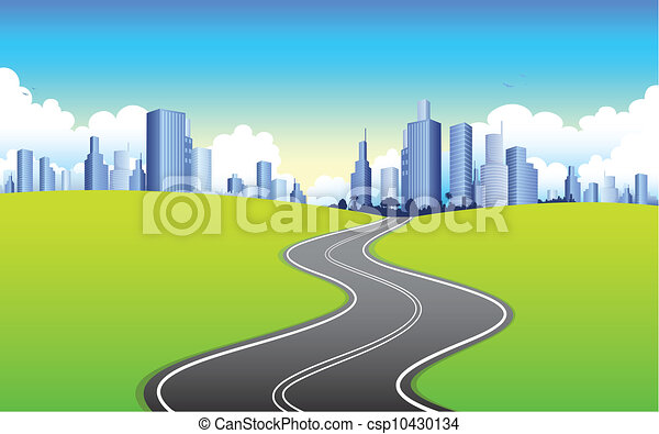 Vectors of Highway going to City - illustration of highway road going ...: www.canstockphoto.com/highway-going-to-city-10430134.html