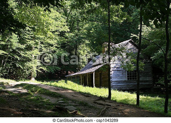 Log Cabin in Smoky Mountains - csp1043289