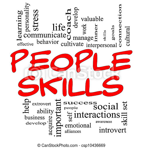 stock image of people skills word cloud concept in red