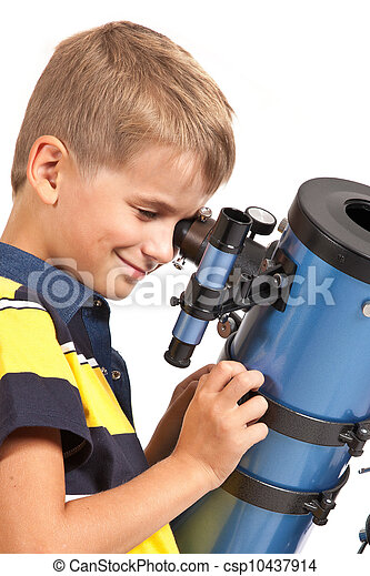 Child Looking Into Telescope on white - csp10437914