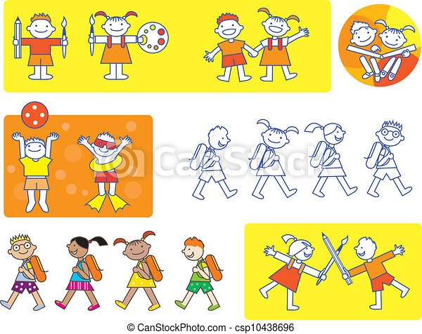 small kids school icons csp10438696 - Small Drawings For Kids
