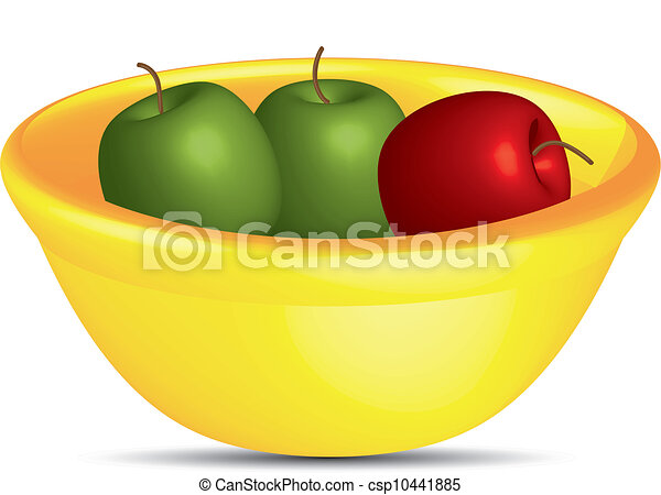 Apples in a yellow bowl,vector - csp10441885