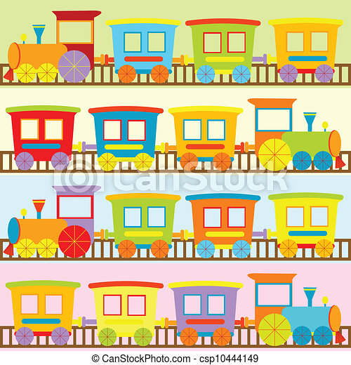 Cartoon trains backgrounds for kids - csp10444149