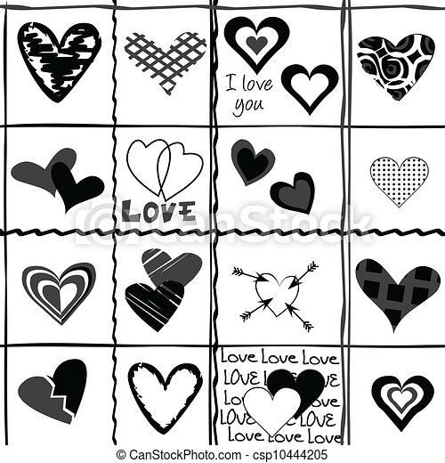 Valentine's Day background with stylized black hearts - csp10444205