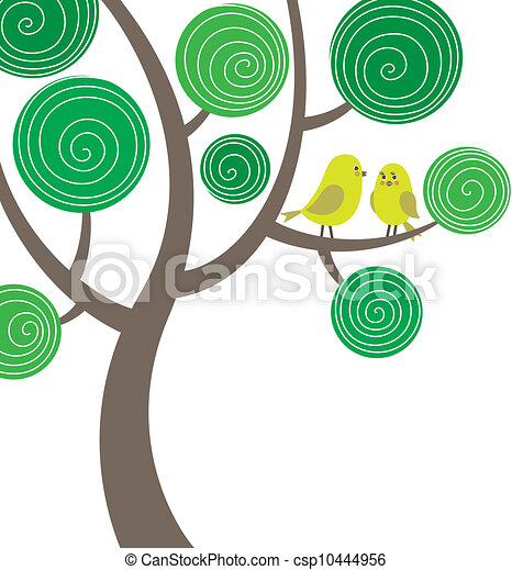Decorative composition with two birds on the tree - csp10444956
