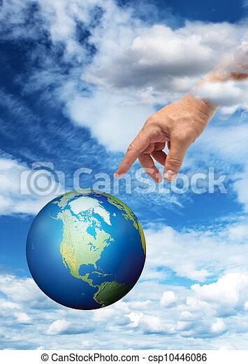 kéz, elérő, Bolygó, Földdel Feltölt - csp10446086