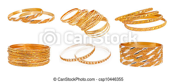 set of the Gold Bracelet placed on white  - csp10446355