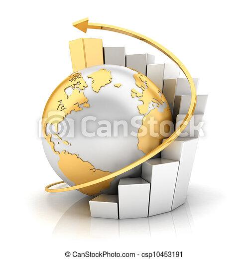 地球, 酒吧, 圖表, 事務,  3D - csp10453191