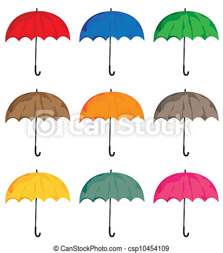 Set of umbrellas. Vector isolated on white background objects. - csp10454109