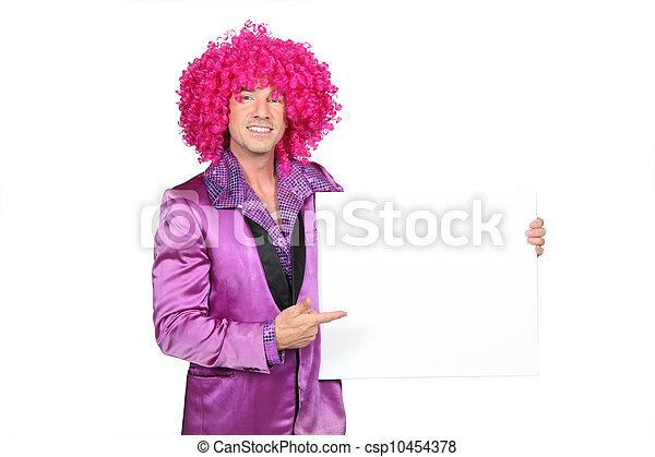 hombre, tonto, Seventies, disfraz, tenencia, blanco, tabla, listo, su, mensaje - csp10454378