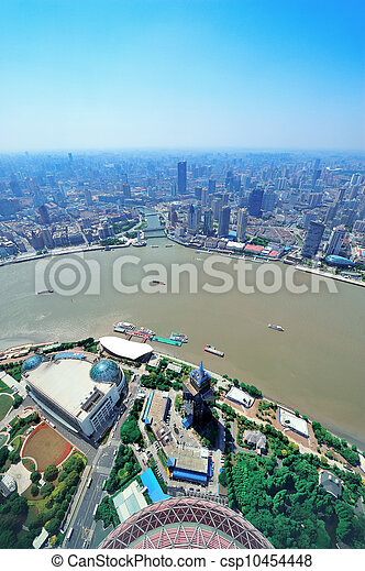 Shanghai aerial in the day - csp10454448