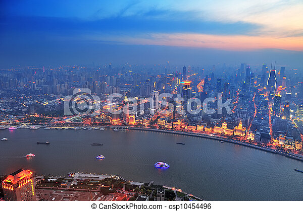 Shanghai aerial at sunset - csp10454496