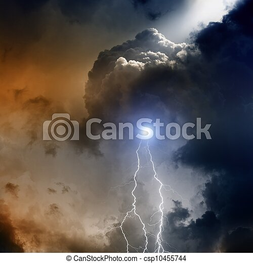 Lightnings in dark sky - csp10455744