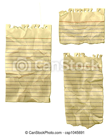 Ripped Paper Wrinkled Old Notebook - csp1045691