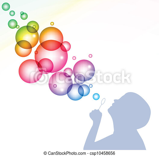 Blowing Bubbles Drawing Child Blowing Bubbles Vector