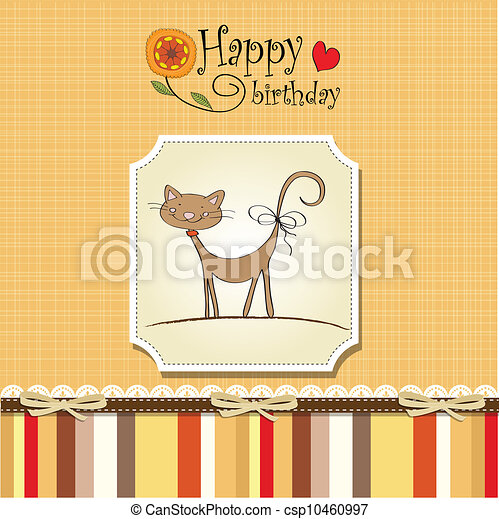birthday card with funny cat - csp10460997