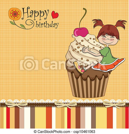 birthday card with funny girl - csp10461063