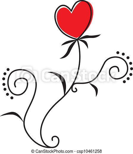Vecteur clipart de coeur fleur fleur dans forme coeur feuilles et - Fleurs en forme de coeur ...