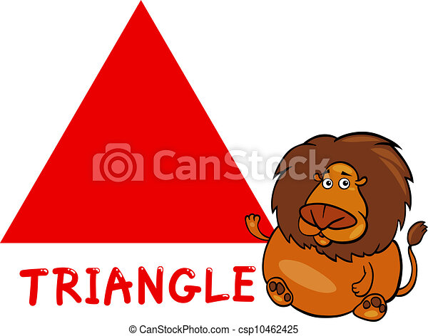 Vector - driehoek, vorm, spotprent, leeuw - stock illustratie, royalty