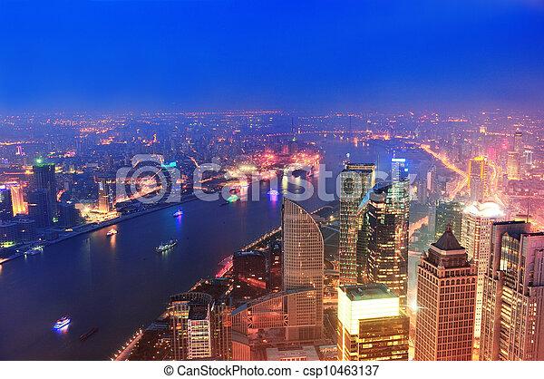 Shanghai aerial at dusk - csp10463137