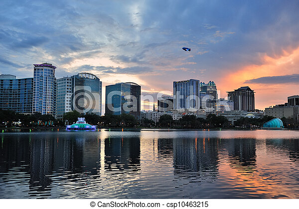 Orlando sunset over Lake Eola - csp10463215