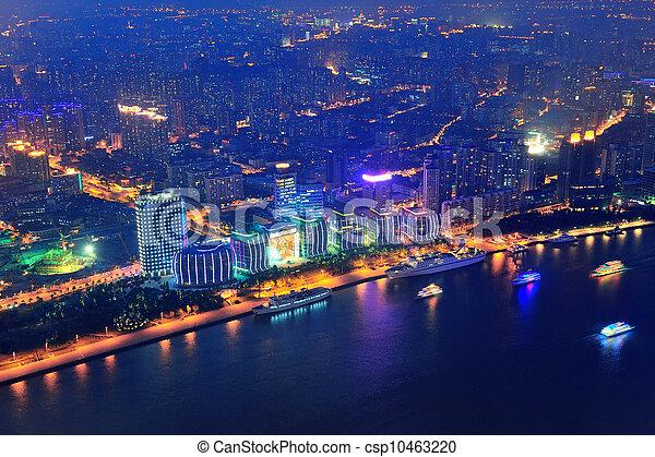 Shanghai aerial at dusk - csp10463220