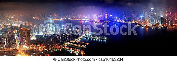 Hong Kong aerial night - csp10463234