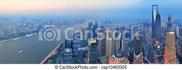 Shanghai aerial at sunset - csp10463305