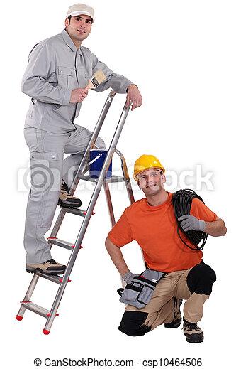 Stock de fotograf a de pintor escalera se agachar for Escalera de electricista