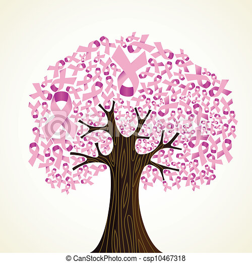 Vector Clip Art Of Breast Cancer Ribbon Tree Pink Breast