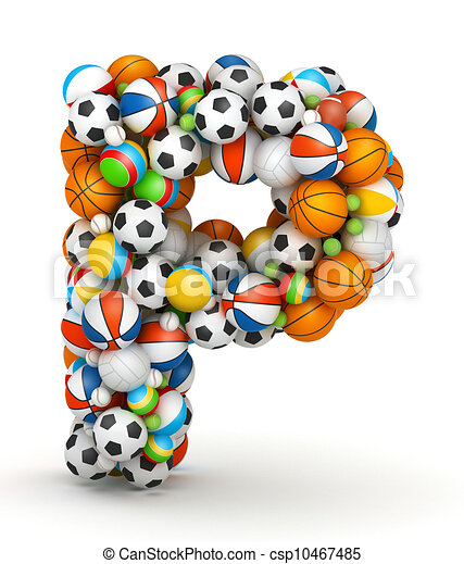 Stock Illustration of Letter P, gaming balls alphabet - Letter P ...