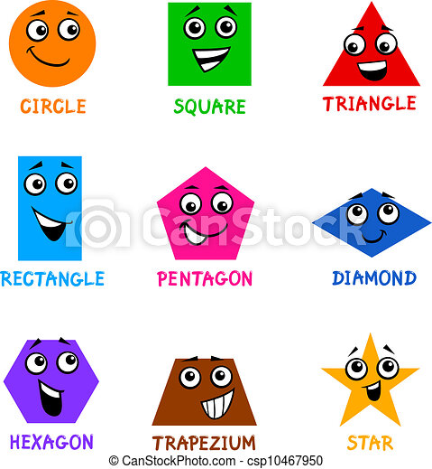 Clipart Vector of Basic Geometric Shapes with Cartoon Faces ...