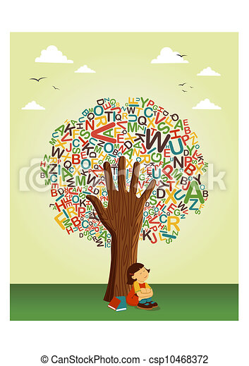 Learn to read at school education tree hand - csp10468372