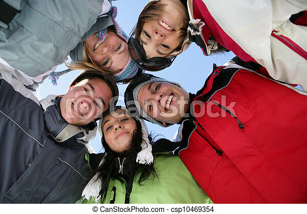 Group of friends on a skiing holiday - csp10469354