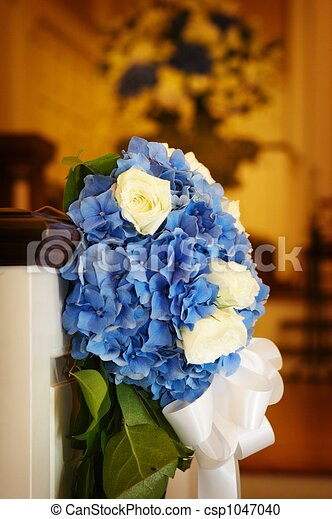 Wedding flowers in a church - csp1047040
