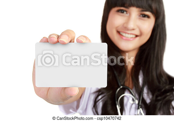 young medical doctor woman showing business card - csp10470742